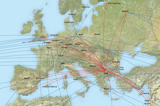 карта на дестинациите на България Еър