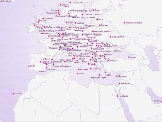 карта на дестинациите на Wizz Air